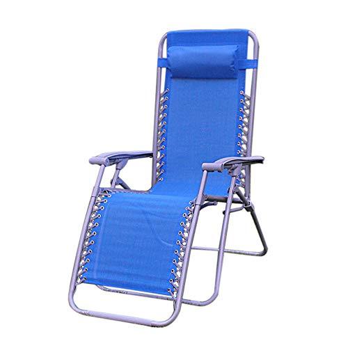 ZRKZ Relaxliege Mit Armlehnen, Klappstuhl Mittagspause Stuhl Tragbarer Außenklappbett Bürostuhl Campingbett Strandkorb Gewicht Max 120kg,Blue-165 * 113 * 63