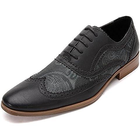 Inverno autunno piazza testa pizzo cuoio scarpe moda Casual Oxford Scarpe uomo , black , 43