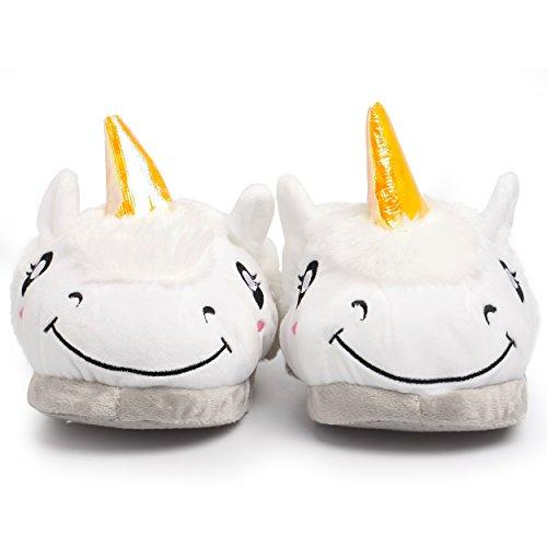 Katara - Kuschelige Plüsch Einhorn-Haus-Schuhe für Damen / Erwachsene als Geschenk, Pantoffeln Größe 36 - 44, weiß Weiß (Einheitsgr. 36-44 hinten geschlossen)