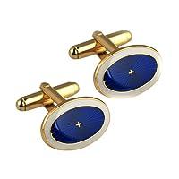 British Jewellery Workshops Hard Gold Plated 13x19mm Oval Sunburst Enamel Swivel Cufflinks