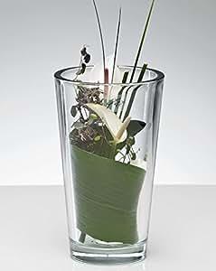 Vase en verre lourds conique Transparent 22cm Ø 13cm par Sandra riche