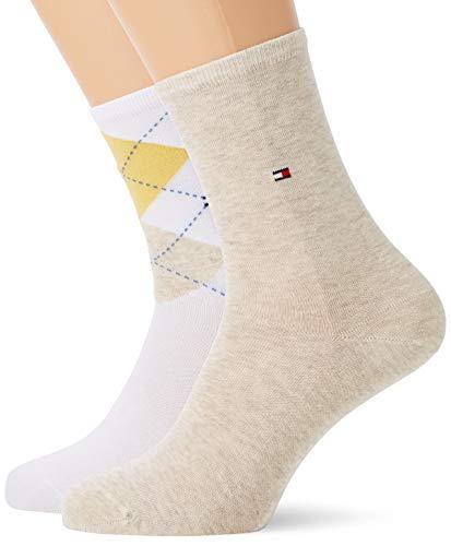 Tommy Hilfiger Damen TH Women Check 2P Socken, Gelb (Golden Poppy 067), 35/38 (erPack 2) - Tommy Hilfiger Check