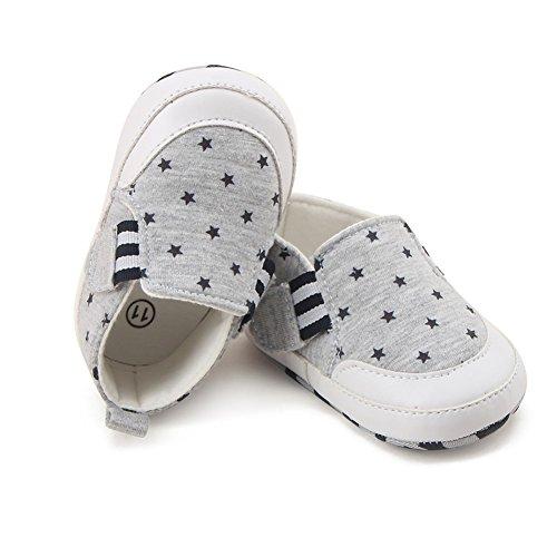 BOBORA Chaussures Souples Bebe Fille Garcon Chaussures Antiderapantes en Coton Gris