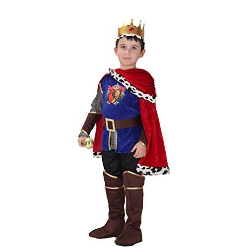 üm Kinder Königskostüm Kaiser Umhang Mantel, Krone und Kleidung Set - M (Top 5 Halloween Kostüme Für Jungen)