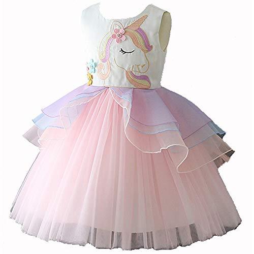 Einhorn Tutu Kostüm Kleid Tanzen Tüll Sommer Ärmellos Cosplay Geburtstagsfeier Fancy Up Dress (7-8 Jahre, Rosa) ()