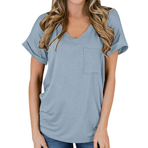 Innerternet Mode Frauen Casual Tasche Kurzarm V-Ausschnitt Rundhals Tops Beiläufige Lose Fit Bluse T-Shirt