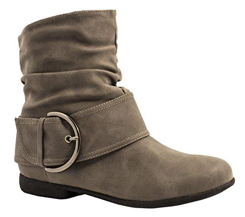 Elara Damen Stiefelette Gefüttert Schnallen Boots Chunkyrayan ZY9091-Khaki-37 -
