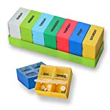 SPARKSOR Pill Box Organizer with Weekly 7 Day AM and PM Night Reminder Mediplanner / Vitamin Case / Travel Reminder Holder / Medication Dispenser Container