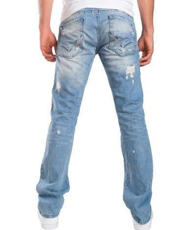 Redbridge Herren Ripped Straight Cut Jeans Hose Distressed Style Helle Waschung Hellblau