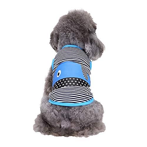 Kostüm Delfin Hunde - Smniao Sommer Haustierkleidung Hund Kleidung Gestreifte Delfine Gedruckt Baumwolle Kleine Hund Katze T-Shirt Weste Rock Kostüm Kleid (XL, Blau)