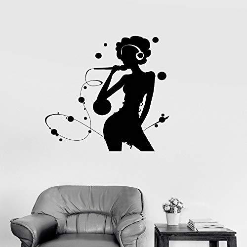 yaoxingfu Abnehmbare Vinyl Dekoration Aufkleber Karaoke Silhouette Frau Popmusik Sänger Wandaufkleber Kunst Wandbilder Poster weiß 56x56 cm