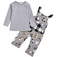 uBabamama Autumn Sale!!! Cartoon Animal Printed Plaid Jumpsuit+Solid Long Sleeve T-Shirts Tops Outfit for Toddler Kids Baby Girls Boys (Gray,Recommended Age:18-24 Months /100)