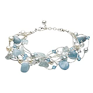 Dew Women's Multi-Stranded Aquamarine Crystal Beads Bracelet of Length of 8 inches