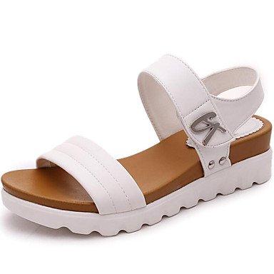 Zhenfu Femme Printemps Eté Sandales Automne Club En Plein Air En Simili-cuir Chaussures Bureau Et Carrière À Pied Casual Plate-forme B Blanc