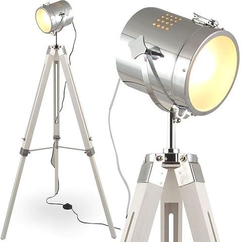 MOJO® Floor Lamp Table Lamps Tripod Standard Trivet Urban Industrial Design Sel-l31 (White, Floor