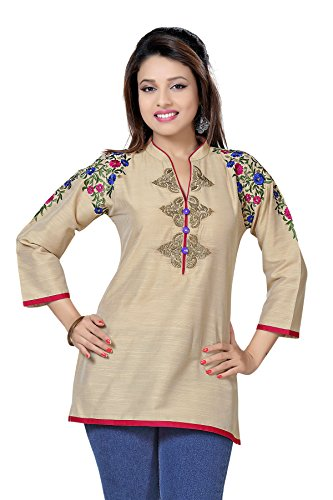 Dragaon-Beautilicious Beige Short Tunic Top for Women with Multi-coloured Embroidery (BD-315-44