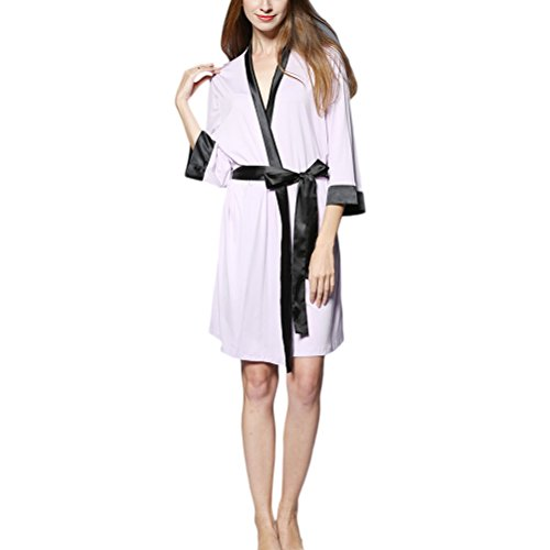Zhuhaitf Women's Soft Modal Robe Kimono Long Sleeve Belt Satin Morgenmantel (Womens Roben Modal)