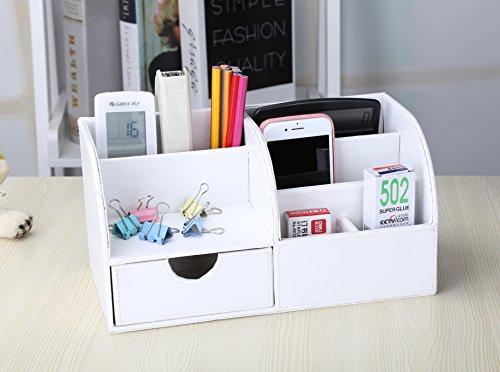 KINGFOM™ 7 Speicherabteil Multifunktionale Kunstleder Schreibtisch Organisator (Weiß) - 4