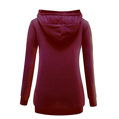 iBaste Damen Kapuzenpullover V-Ausschnitt Hoodie Sweatshirt Sweatjacke Kapuzenjacke Weinrot