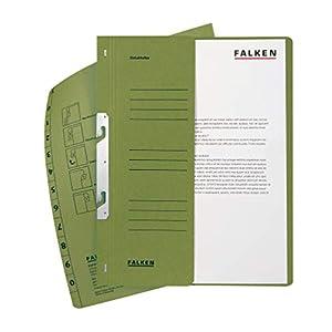 Original Falken 50er Pack Einhakhefter. Made in Germany. Aus Recycling-Karton mit halbem Vorderdeckel und kfm. Heftung für DIN A4 grün Hefter Sammelmappe Dokumentenmappe