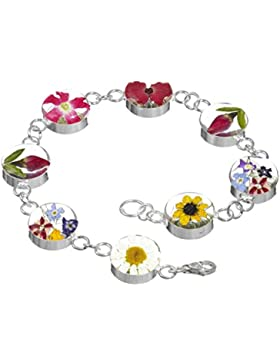 Shrieking Violet: Armband mit echten Blumen im Blumenmix, Sterling-Silber 925