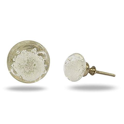 Glass Jones Bead Transparent Cupboard Cabinet Door Knob Drawer Pull & Handle