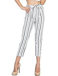 ac6240d5d3c89 BOLAWOO Femme Pantalons Pants Elégante Confortable Taille Haute Pantalon De  Loisirs Jeune Mode Mode Chic Printemps