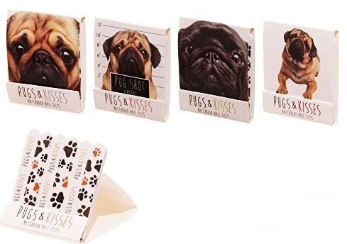 Cute Mini Pugs Kisses Design Nail File Matchbook Dog Emery Board Manicure Party Bag Filler Pocket Animal Gift Present Ladies Birthday by Concept4u