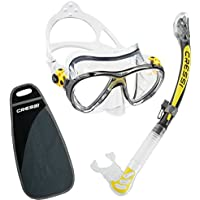 Cressi Big Eyes Evolution & Alpha Ultra Dry Professional Combo, Set per Immersioni e Snorkelling Unisex – Adulto, Trasparente/Giallo