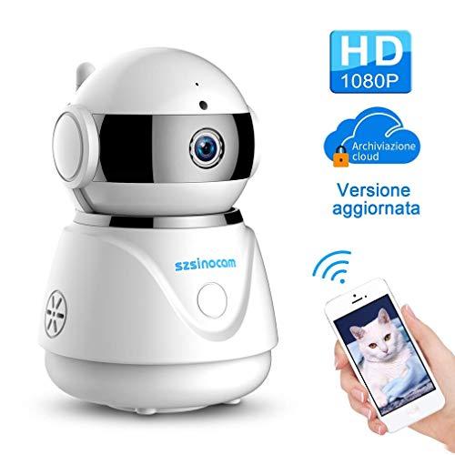 Videocamera di Sicurezza Wifi Interno, SZSINOCAM Telecamera di Sorveglianza 1080P IP Camera Visione Notturna Baby Monitor,Audio Bidirezionale, Sensore di Movimento Pan/Tilt, IOS/Android