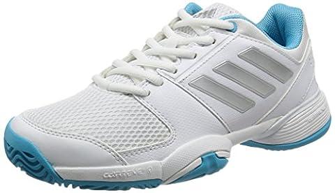 Adidas Barricade Club XJ Trainers Kids Junior Tennis Shoes (White/Samba, 3 UK)