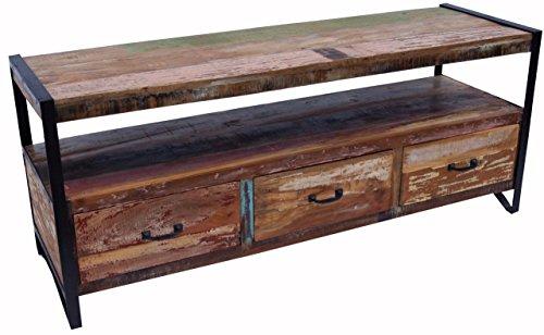 Guru-Shop Table Vintage TV, Métal et Bois Buffet de Recyclage, 60x145x45 cm, Commodes
