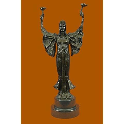 Escultura bronce estatua...Envío gratis...Firmado Leonard antorcha de la victoria Art Nouveau Tall Mármol Mujer(XN-2153-UK)Estatuas estatuilla estatuillas desnuda Oficina y Decoración del hogar Coleccta
