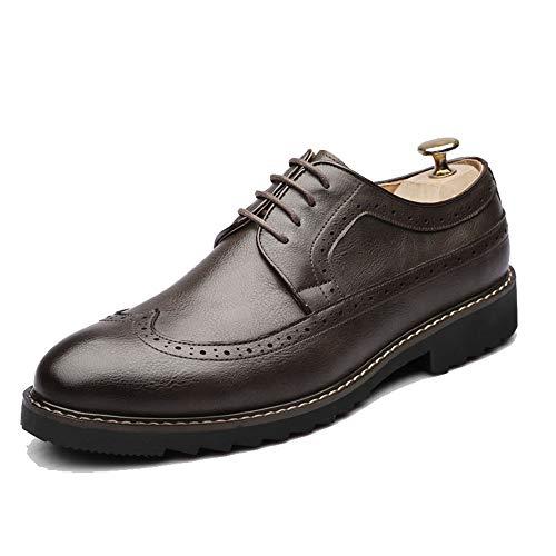 yajie-Shoes, Scarpe Oxford da Uomo alla Moda, scolpiture Classiche Casual Che respingono Le Scarpe Brogue in Stile Britannico (Color : Marrone, Dimensione : 41 EU)