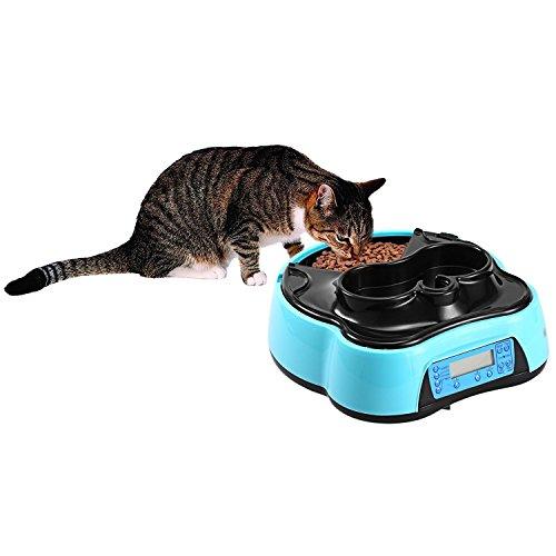 Futterautomat Ncient Katze Hund Automatischer Futterspender,mit Timer LCD Bildschirm und Ton-Aufnahmefunktion,1.6 Liter
