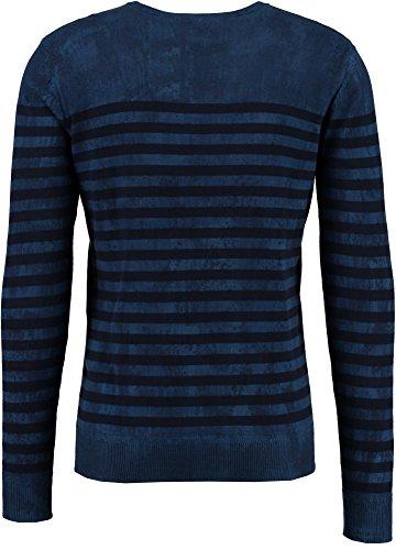Garcia Jeans Men's Men's Striped Blue Cotton Pullover 100% Cotton clear night 523