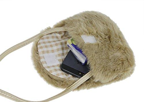 Kinder Geldbörse Plüsch Schlüsselbeutel Mädchen Handytasche Crossbody Bag Umhängetasche Kartenmäppchen perfektes Geschenk Khaki