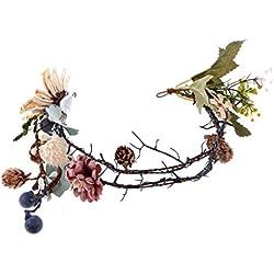 MagiDeal Diadema Guirnalda Floral de Pelo de Novias Estilo de Bosque Decoración de Fiesta de Bodas de Mujeres Flor de Boho