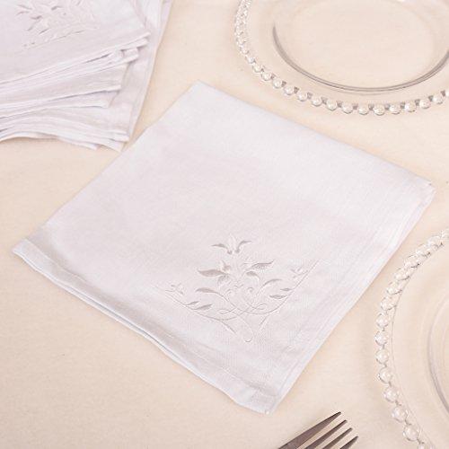 ederverwendbar waschbar Tuch Serviette mit Botanischen Print Hervorragende Qualität, Single Serviette für Luxus Tisch in Weiß Bestickt–Ideal für Weihnachten–W40x l 40 (Bestickte Servietten)