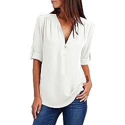 Yuson Girl Camisas Mujer Nuevo Blusas para Mujer Vaquera Sexy Gasa Tops Camisetas Mujer Cremallera Manga Corta Blusas (Blanco, XL)