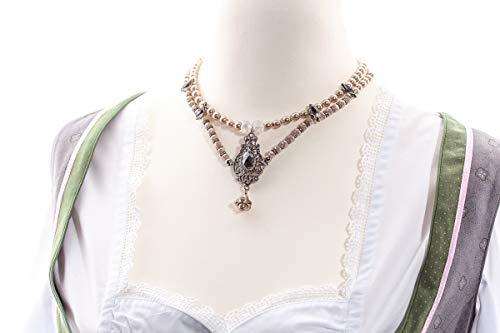Perlenkette 2-reihig taupe von CP Dirndlkette vintagestil Barock