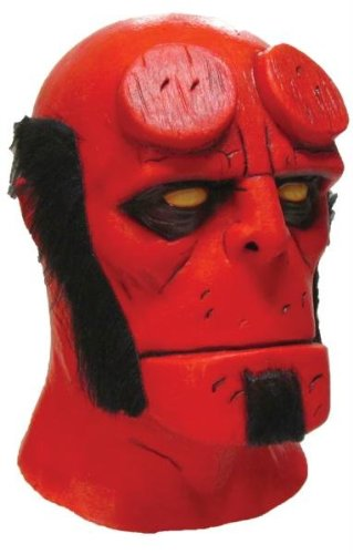 Hellboy Latex Maske Halloween Kostueme Maske Gesicht Maske Over-the-Head-Maske Kostuem Stuetze Scary Creepy Schreckliche Maske Latex Maske fuer Maskerade Make-up Party