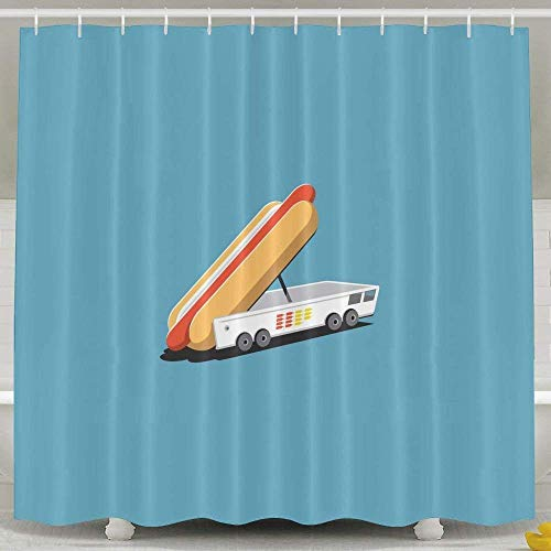LINGJIE Duschvorhang, Bathroom Accessories, Modern Decorative Tub Baby Girl Extra Long Shower Curtain Set with Rings for Men Women Kids, Funny Hot Dog Truck
