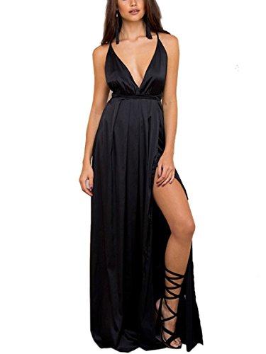 Simplee Apparel Damen Partykleid Sexy V-Ausschnitt Rückenfrei Maxi Lang Satin Träger Kleid Abendkleid Cocktailkleid Schwarz (Kleid Langes Sexy)