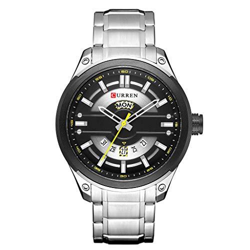 UINGKID Herren Uhr analog Quarz Armbanduhr wasserdicht Uhren Kalender Quarzuhr Runde True Single Eye Business Watch