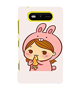 EPICCASE Girl As cute Rabbit Mobile Back Case Cover For Nokia Lumia 820 (Designer Case)