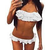 Honestyi Frauen Push Up Gepolsterter BH Strand Bikini Set Badeanzug Sexy Falten Rand Bademode 1947 Halter Rüschen Split Badeanzug(Weiß,XL)