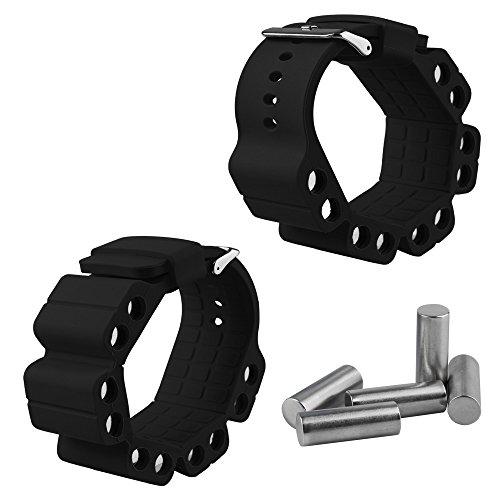 ensunltd deportes muñequeras para fortalecer brazo fuerza con cilindro de acero inoxidable Yoga natación Running Hip Hop, negro