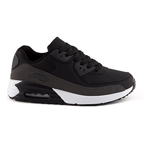FiveSix Herren Damen Sneaker Sportschuhe Schnür Lauf Freizeit Fitness Dämpfung Low Top Unisex Schuhe Schwarz/Grau-W