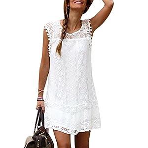 YOINS Sommerkleid Damen Kleider A-Linie Loose Kleid Elegant Spitzekleid Minikleid Rundhals Strandkleid Strandmode